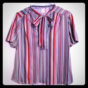 Vintage Pussy Bow Striped Short Sleeve Top Sz S 36